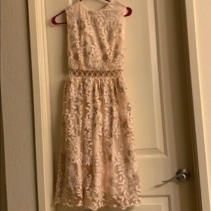 Pink/gold and lace prom dress